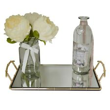 Gold Metal Mirrored Rectangular Glass Serving Table Tray Platter With Handles