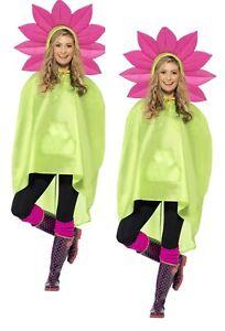 Ladies Mens Unisex Animal Ponchos Showerproof Festival Adult Fancy Dress Flower