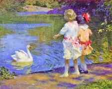 Children with a Swan by E Potthast 8x10 Print Summer Little Girls Water Art 175