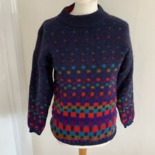 Vintage Tulchan Pure Wool Retro Jumper Blue Rainbow Squares Quirky Funky