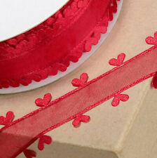 RIBBON RED ORGANZA WITH HEART EDGING 25mm x 25M CRAFTS CAKE WEDDING FLOWERS