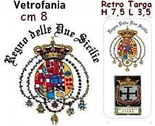 VETROFANIA + RETRO TARGA AUTO CALABRIA CITRA SCRITTA REGNO 2 SICILIE AUTOCARRO