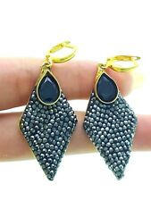 Turkish Jewelry Hot Women 14k Gold Plate 925 Sterling Silver Onyx Druzy Earrings