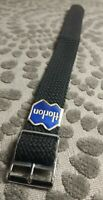Horlon 18mm Woven Watch Band/Strap, Black w Silver Buckle, Dutch Made, M0NI-M001