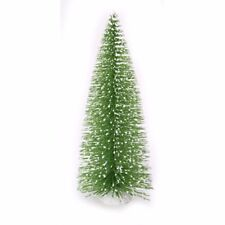 "Bottle Brush Tabletop Sisal Tree Wood Base Green Glitter Snow Tips 8"" Christmas"