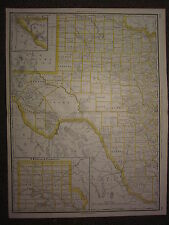 1890 LARGE MAP ~ WESTERN TEXAS STATE COUNTY RAILROAD ~ EXCELLENT CONDITION