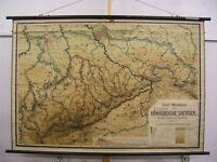 Wandkarte Königreich Sachsen 174x118cm ~1910 vintage kingdom of saxony wall map