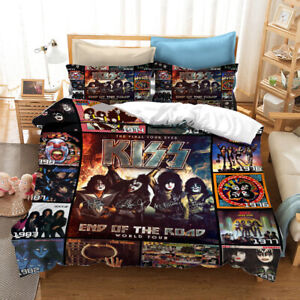 Kiss Band Poster Bedding Set Duvet Cover and Pillowcase Single Double King