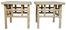 2 Ficks Reed Bamboo Coffee End Tables Pair Hollywood Regency Mid Century Modern