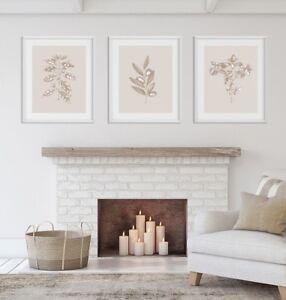 Set of Prints, Beige Prints, Wall Art Set, Beige, Wall Art, Botanical Print Set