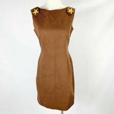 Scaasi Sz 8 Brown Dress Starfish Beach Lined Vintage 90s Gold