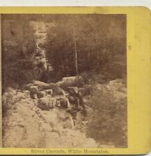 Silver Cascade White Mountains NH Stereoview c1870