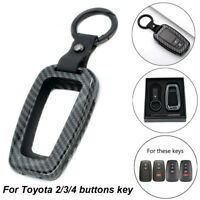 For Toyota CHR Camry Carbon Fiber Car Remote Key Cover Fob Case Chain Shell