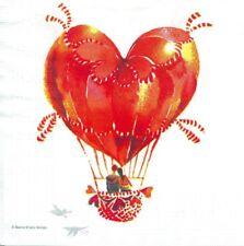2 Serviettes en papier Cœur Ballon Decoupage Paper Napkins Heart Balloon