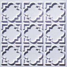 #142 (Lot of 50)  White Matt PVC Faux Tin Decorative Ceiling Tile Panels Glue-Up