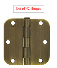 "42 Antique Brass 3.5"" X 3.5"" w 5/8"" Radius Round Corner Interior Door Hinges"