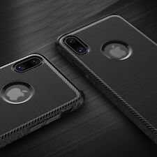 Custodia Carbonio iPhone X 10 Cover Case Spessa Antiurto Nera + Vetro Temperato
