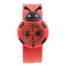 Child Boy Girl Ladybug Adorable Cartoon Silicone Watch - Color: Red T7T1