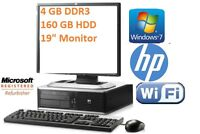 """HP FULL COMPUTER SYSTEM CORE DUO  160GB 4 GB DDR3 WIN7 19"""" TFT Wi-Fi KEY MOUSE"""