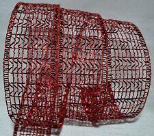 Wired Ribbon~Sheer~Glitz Metallic Red Mesh~Holiday Net~Christmas~Wreath~Gift~Bow