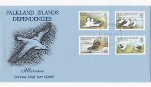 FALKLAND ISLANDS DEPENDENCIES 1985 BIRDS STAMPS ON FDC ALBATROSSES SOUTH GEORGIA