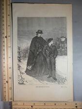 Rare Antique Original VTG 1878 The Orphans of Oldham Engraving Art Print