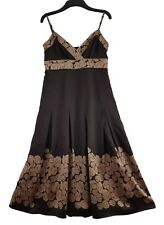 TED BAKER Women's Dress - Fabulous Brown Floral Strappy Silk A-line Size: 2 (10)