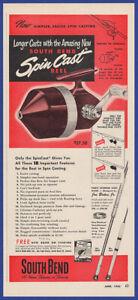 Vintage 1952 SOUTH BEND Spin Cast Reels Fishing Ephemera Decor 50's Print Ad
