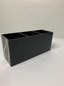 Black and gold cosmetic brush organizer makeup storage brush holder 3 slots