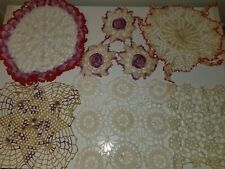 Vintage Lot of 6 Doilies Doily Hand Crocheted White Tan Red Purple Table Decor