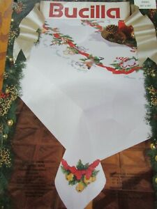 Bucilla Stamped Cross Stitch Tablecloth 12 Days Of Christmas 1993 -60 x 90