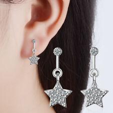 925 Sterling Silver Crystal Zircon Star Ear Stud Drop Earrings Women Jewellery