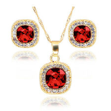 Fashion Women Crystal Pendant Necklace Earring Rhinestone Luck Chain Jewelry Set