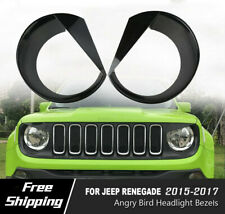 Angry Bird Clip-In Version Style Headlight Covers Trim For 15-17 Jeep Renegade