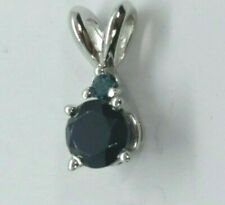 Genuine Black & Blue Diamond Pendant 14kt White Gold