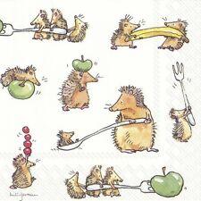 """Anita Jeram 20 Servietten """"Funny Hedgehogs"""" Igel Herbst Apfel Beeren 33x33"""