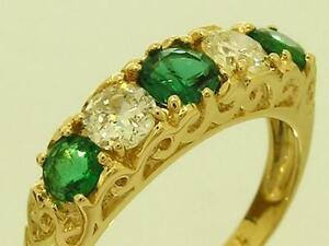 R163- Genuine 18ct GOLD Natural ANTIQUE Diamonds & Emerald Bridge Ring size M