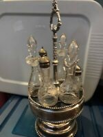 ANTIQUE VICTORIAN SILVER PLATE CRUET CONDIMENT SET CADDY WITH ETCHED GLASSED