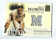 Eddie Mathews Braves 2002 Topps Tribute Milestone Materials Jersey Card