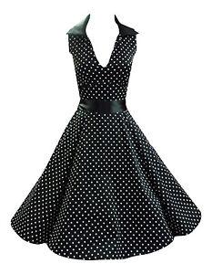 1950's Black Polka Dot V Neck Collared Rockabilly Full Circle Jive Dress New