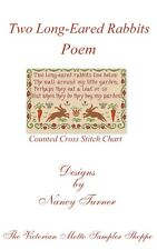 Two Long-Eared Rabbits Poem,sampler, counted cross stitch chart