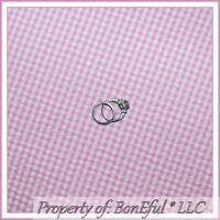 BonEful Fabric FQ Cotton Decor VTG Pink White Seersucker Gingham Check Baby Girl