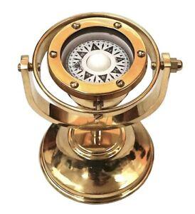 "Brass Marine Gimbaled Ship Compass 5"" Desk Stand Navigational Nautical Decor"