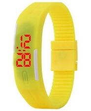 Yellow Digital Unisex Sports Watch With Time And Date On A Rubber Jelly Strap.