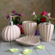 Set Of 4 Ceramic Seashell CREAM Bathroom Soap Dish Dispenser Toothbrush Holder