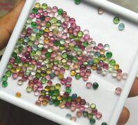 50 Pieces 3 MM Wholesale Lot Natural Multi Tourmaline Round Cabochon Gemstones
