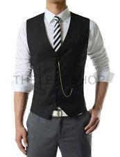 Polyester Button Patternless Regular Size Waistcoats for Men