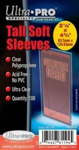 """1000 Ultra Pro Tall Card Poly Soft Sleeves 2 1/2"""" x 4 3/4"""" - 10 pack lot"""