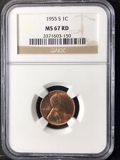 1955-S 1C RD Lincoln Wheat One Cent  NGC MS67RD                   3371603-150