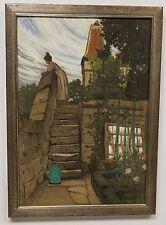Antique Original 1902 Signed FRITZ BECKER Gouache Watercolor Charcoal Painting
